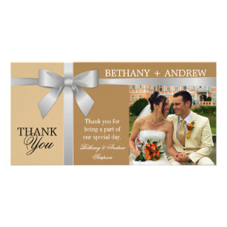 Silver Ribbon and Antique Gold Wedding Thank You Personalized Photo Card
