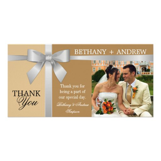 Silver Ribbon and Antique Gold Wedding Thank You Picture Card