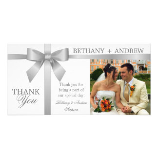Silver Ribbon and White Wedding Thank You Photo Card Template