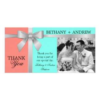 Silver Ribbon Aqua Coral Pink Wedding Thank You Personalized Photo Card