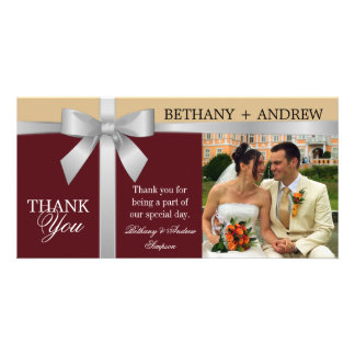 Silver Ribbon Burgundy Gold Wedding Thank You Photo Card