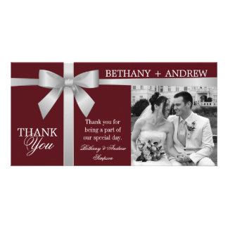 Silver Ribbon Burgundy Wedding Thank You Picture Card