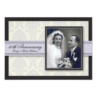 Silver Ribbon Damask Anniversary Party Invitation