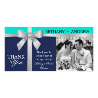 Silver Ribbon Navy Turquoise Wedding Thank You Photo Card Template