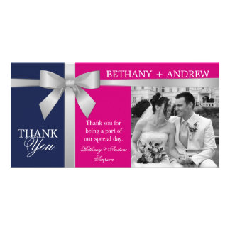 Silver Ribbon Purple Fuchsia Wedding Thank You Customized Photo Card