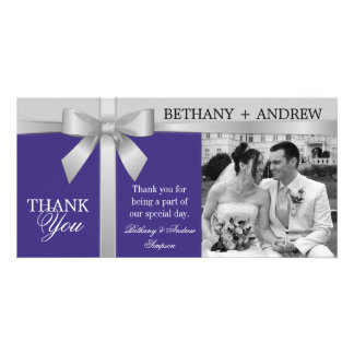Silver Ribbon Purple Silver Gray Wedding Thank You Personalised Photo Card
