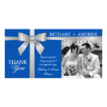 Silver Ribbon Royal Blue Wedding Thank You Picture Card