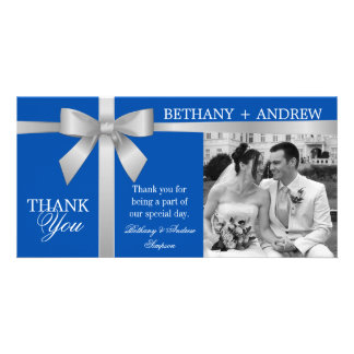 Silver Ribbon Royal Blue Wedding Thank You Photo Greeting Card