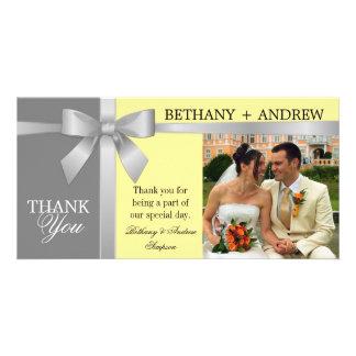 Silver Ribbon Yellow Gray Wedding Thank You Personalised Photo Card