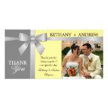 Silver Ribbon Yellow Grey Wedding Thank You Personalised Photo Card