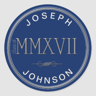 Silver Roman Numerals Class of 2017 ANY COLOR Round Sticker