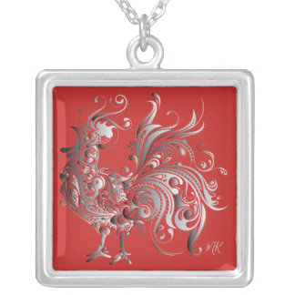 Silver Rooster Choose Your Background Color Silver Plated Necklace