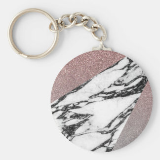 Silver Rose Gold Glitter and Marble Geometric Key Ring