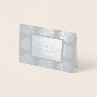 Silver Rose Tapestry Sympathy Thank You Foil Card