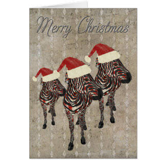 Silver Rose Zebras Merry Christmas Card
