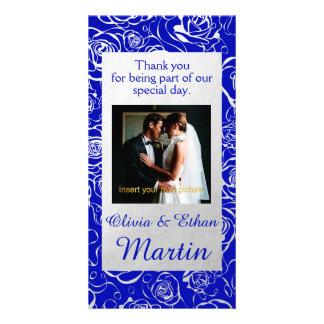 Silver Roses and Royal Blue Wedding Photo Card