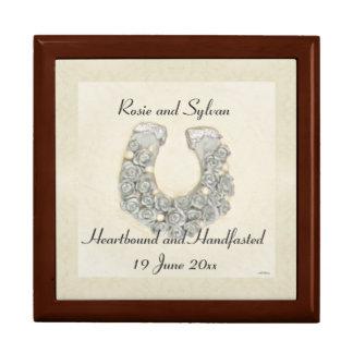 Silver Roses Horseshoe Handfasting Cord Keepsake Large Square Gift Box