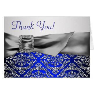 Silver Royal Blue Damask Thank You Card
