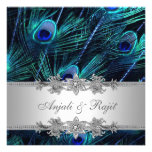 Silver Royal Blue Peacock Wedding Personalised Invitations