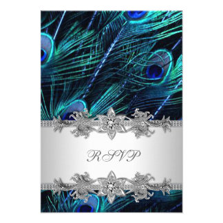 Silver Royal Blue Peacock Wedding RSVP Personalized Announcement