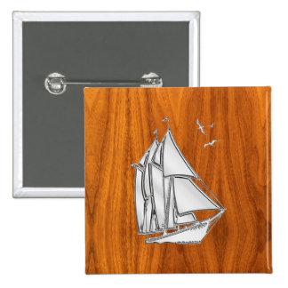 Silver Sailboat on Teak Veneer Styles 15 Cm Square Badge