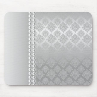 Silver Satin Damask White Pearls Fabric padfolio Mouse Pad