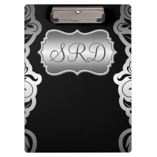 Silver Satin Flourish black & grey personalise Clipboard