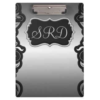 Silver Satin Flourish black & grey personalise Clipboards