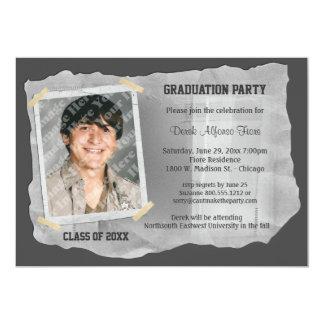 Silver Scrapbook Photo Graduation Party Invite