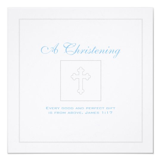 Silver Scroll Boy Christening Invitation
