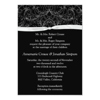 Silver Scrolls and Ribbon Wedding Invitation