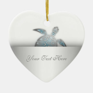 Silver Sea Turtle Animal Ceramic Heart Decoration
