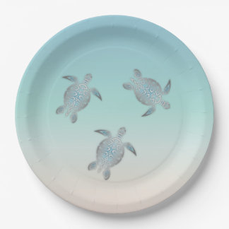 Silver Sea Turtle  Beach Style Paper Plate