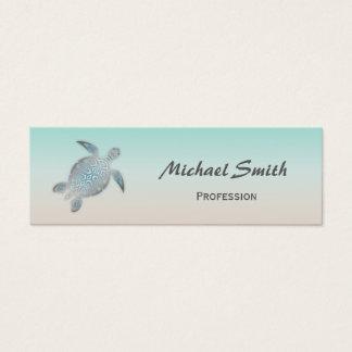 Silver Sea Turtle Mini Business Card