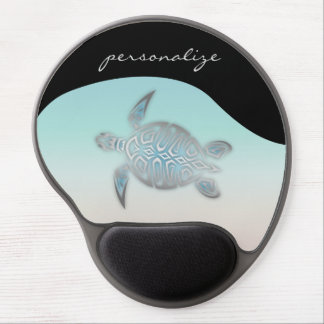 Silver Sea Turtle Monogram Gel Mouse Pad
