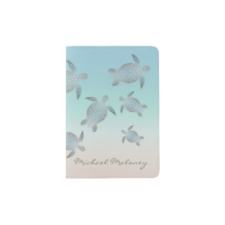 Silver Sea Turtle  Monogram Passport Holder