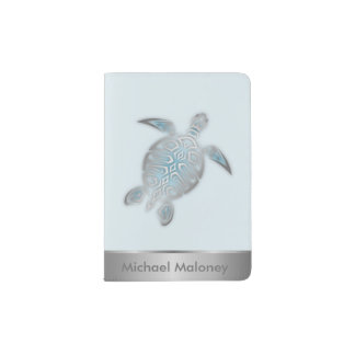 Silver Sea Turtle Passport Holder