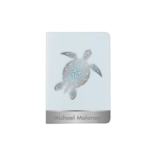 Silver Sea Turtle Passport Holder