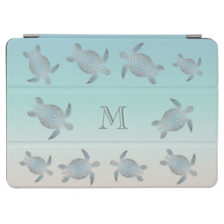 Silver Sea Turtles Beach Style Monogram iPad Air Cover