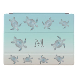 Silver Sea Turtles Beach Style Monogram iPad Pro Cover