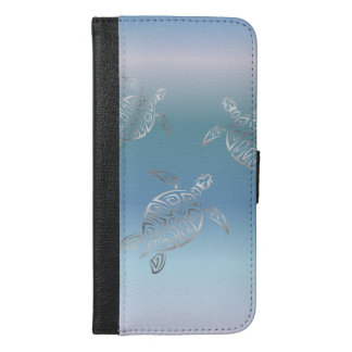 Silver Sea Turtles Blue Gradient Animal iPhone 6/6s Plus Wallet Case