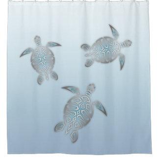 Silver Sea Turtles Blue Shower Curtain