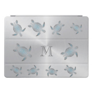 Silver Sea Turtles  Monogram iPad Pro Cover