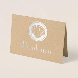 silver seashell - Thank you Foil Card