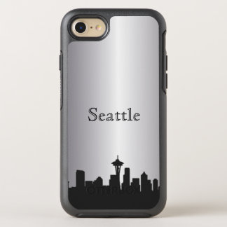 Silver Seattle Skyline Silhouette Case