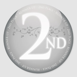 Silver Second Place (2nd) Award Classic Round Sticker