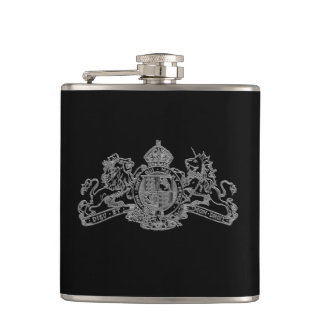 Silver Secret British Agent 007 Bond Coat of Arms Hip Flask