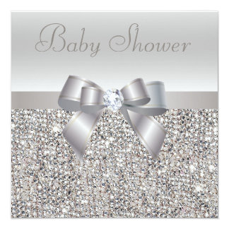 Silver Sequins, Bow & Diamond Baby Shower 13 Cm X 13 Cm Square Invitation Card