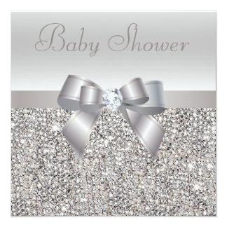 Silver Sequins, Bow & Diamond Baby Shower 13 Cm X 13 Cm Square Invitation Card