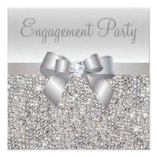 Silver Sequins, Bow & Diamond Engagement Party 13 Cm X 13 Cm Square Invitation Card